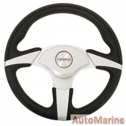 330mm Steering Wheel - Polyeurathane - Black and Silver