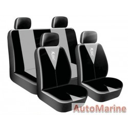 8 Piece DRAGON MASTER - Grey Seat Cover Set