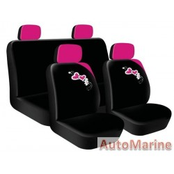 8 Piece Seat Cover Set - Pink Heart Blooms