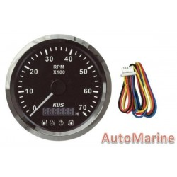 Tachometer with 4 LED Warning Functions - Black