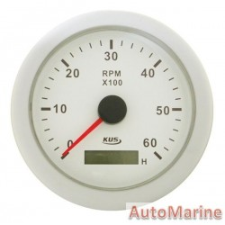 Tachometer 6000rpm - 85mm - White