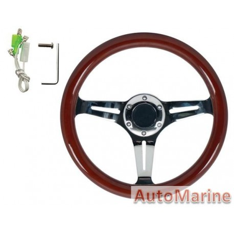 Steering Wheel - Wooden - 330mm