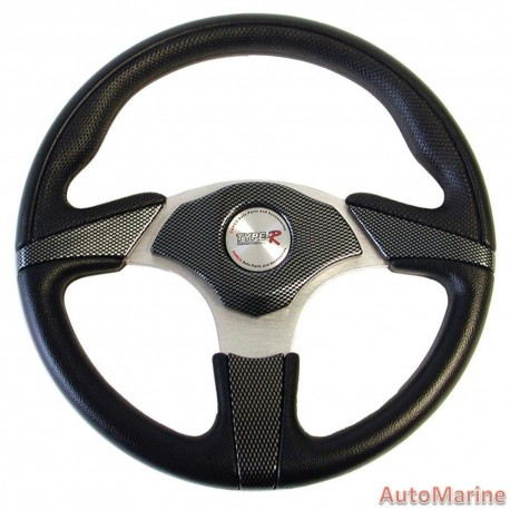 330mm Steering Wheel - Polyeurathane - Carbon and Silver