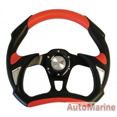 Steering Wheel - Polyeurathane - Red - 320mm