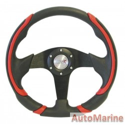 Steering Wheel - 320mm - Leather And Polyeurathane - Red
