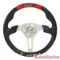350mm Steering Wheel - PVC -  Red