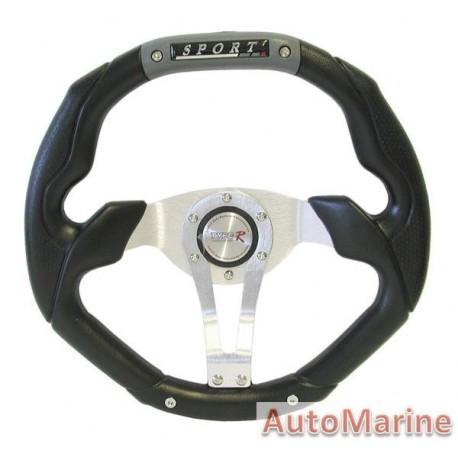 350mm Steering Wheel - PVC - Grey