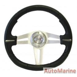 350mm Steering Wheel - Polyeurathane - Black
