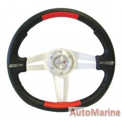 350mm Steering Wheel - Polyeurathane - Red