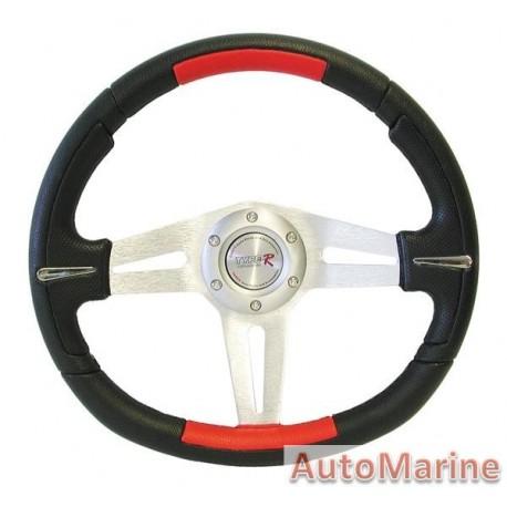 350mm Steering Wheel - Polyeurathane - Red