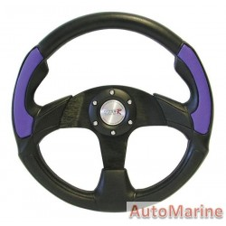 350mm Steering Wheel -  Polyeurathane + PVC - Blue