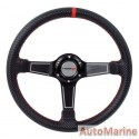 Steering Wheel - PVC - 350mm - Black and Red