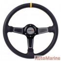 Steering Wheel - PVC - 350mm - Black and Yellow