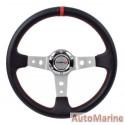 Steering Wheel - PVC - 350mm - Black and Red