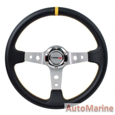 Steering Wheel - PVC - 350mm - Black and Yellow