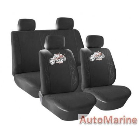 8 Piece Dragon Motor - Black Seat Cover Set