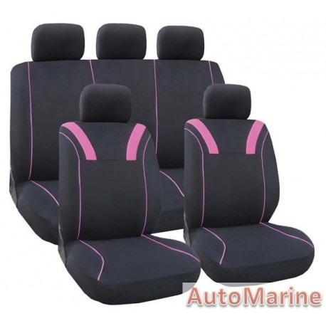 9 Piece Elegant - Pink Seat Cover Set