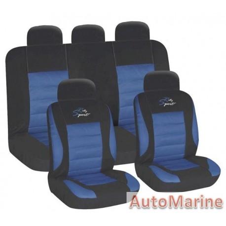 9 Piece Racing Sport - Blue Seat Cover Set