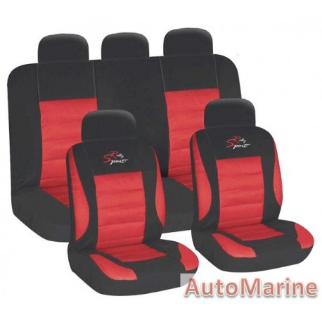 9 Piece Racing Sport - Red Seat Cover Set