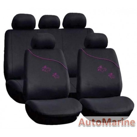 9 Piece Pink Girl - Pink Seat Cover Set