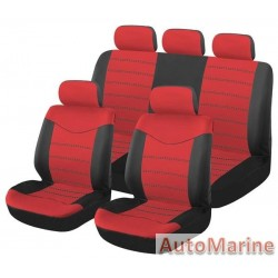 9 Piece X Type - Red Seat Cover Set