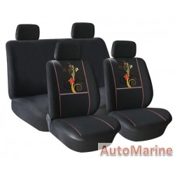 8 Piece Butterfly and Flowers -  Black  Seat Cover Set