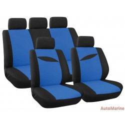 9 Piece Leaf - Blue Seat Cover Set