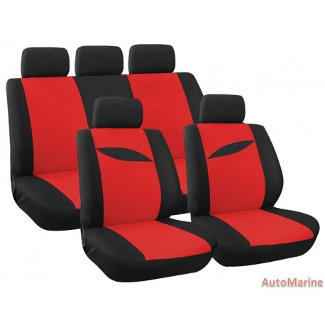 9 Piece Leaf - Red Seat Cover Set