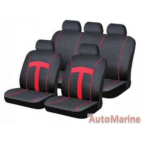 9 Piece T-Style - Red Seat Cover Set
