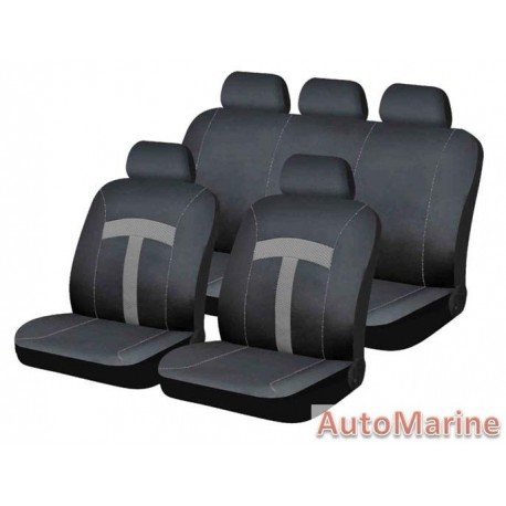 9 Piece T-Style - Grey Seat Cover Set