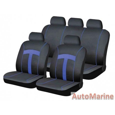 9 Piece T-Style - Blue Seat Cover Set