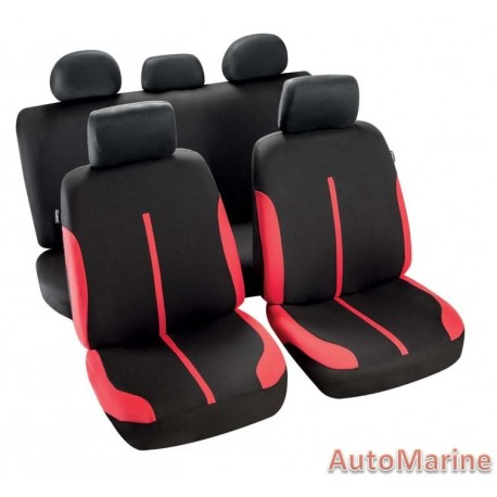 9 Piece Spool - Red and Black Seat Cover Set