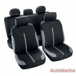 9 Piece Spool - Grey and Black Seat Cover Set