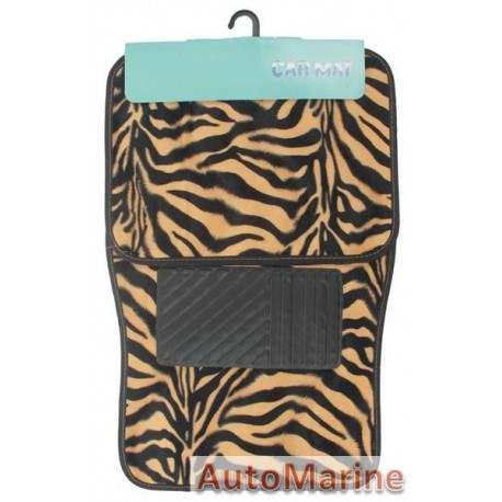 Car Carpet Set - 4 Piece - Animal Print Tiger