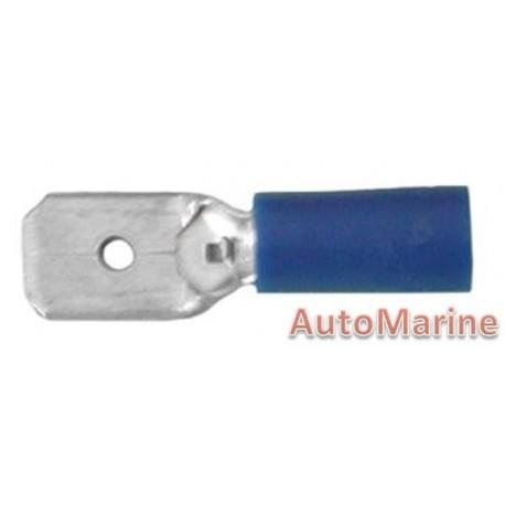 Blue Male Terminal - 6.3mm  - 10 Pieces