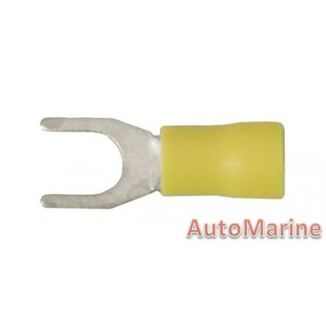 Yellow Fork Terminal - 6.4mm - 10 Pieces
