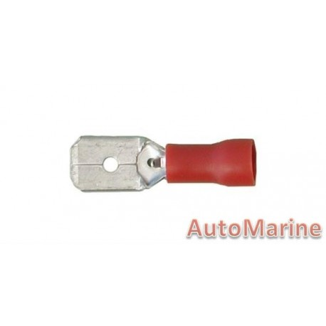Red Male Terminal - 6.3mm - 10 Pieces