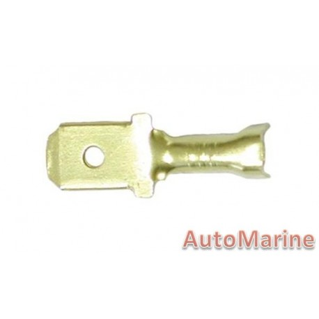 Plain Brass Male Terminal - 6.3mm - 10 Pieces