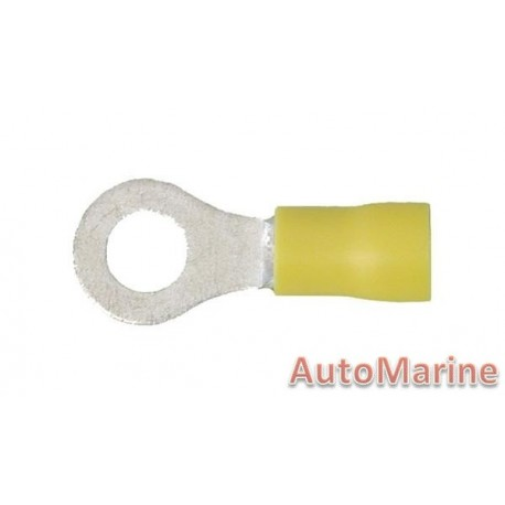 Yellow Ring Terminal - 6.4mm - 10 Pieces