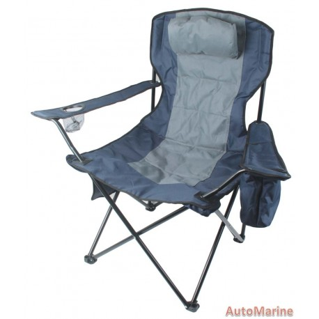 Camping Chair - Extra Heavy Duty - Blue  Grey