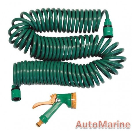 Coil Type Garden Hose with Fittings