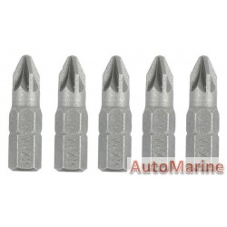 Screwdriver Bits 5 Piece Pozi No.2 Cr-V