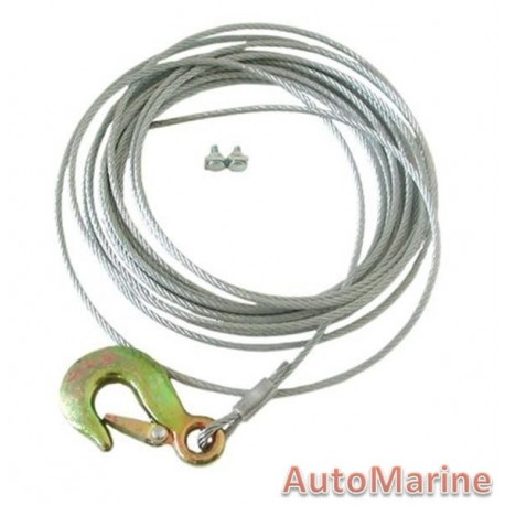 Winch Cable and Hook 7.5m x 5mm