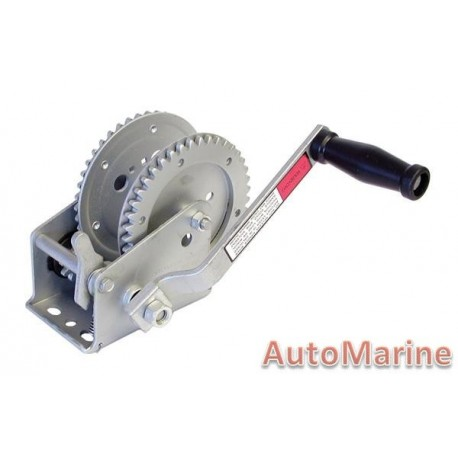2000LB Hand Winch - Galvanised with Double Gear