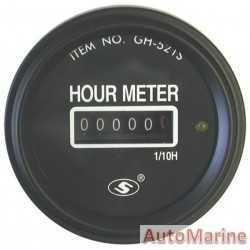 Analogue Hour Meter - 52mm - Black - 6 to 50v