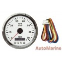 Tachometer with 4 Led Warning Functions - White