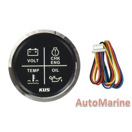 4 Function Led Warning Gauge - 52mm