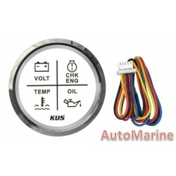 4 Function Led Warning Gauge - 52mm - White