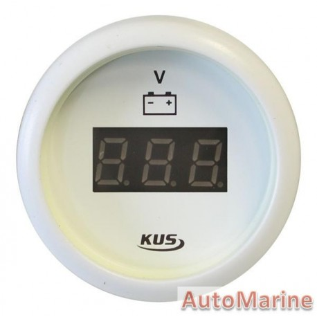 Digital Volt Gauge - 8-32V - 52mm - White