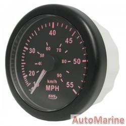 Speedometer 55mph / 90kmh - 85mm - Black